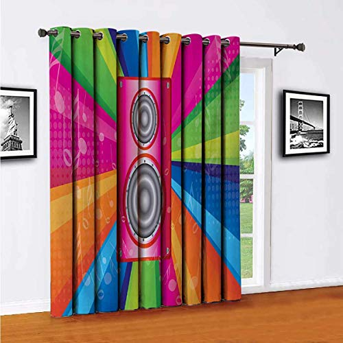 Toopeek Vintage Rainbow Living Room Sliding Door Curtain Discotheque Pop Party of The 60s 70s Theme Musical Notes and Pink Stereo Office Single Panel W96 x L108 Inch Multicolor