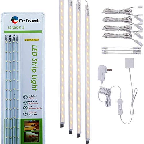 Kit de barra de luz LED de 4 piezas para exhibición debajo del gabinete, iluminación blanca cálida