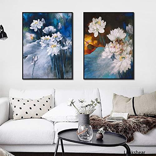 hetingyue Frameloze olieverfschilderij poster Lotus Modular Print Afbeelding Home Decoration Canvas muurschildering woonkamer kunst schilderij