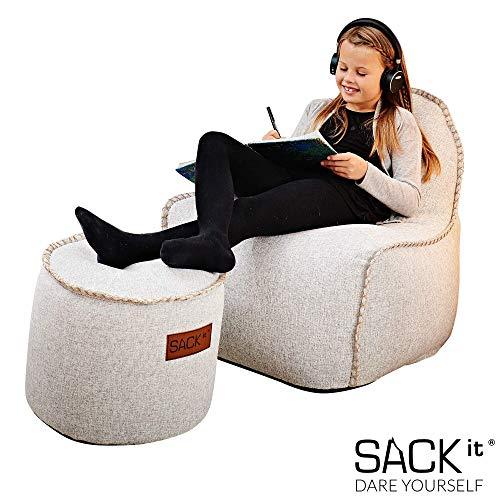 SACKit - RETROit Cobana Junior White - Weiss Indoor/Outdoor Sitzsack mit Hocker für Kinder. Sessel mit Lehne. Für das Kinderzimmer oder Gaming im Jugendzimmer