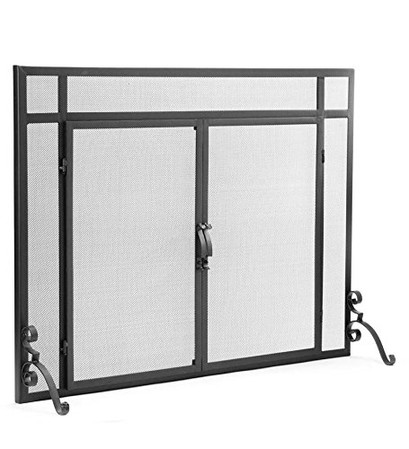 Plow & Hearth Large Flat Guard Fireplace Screen with Doors, Handcrafted Solid Steel, Heavy Duty Metal Mesh, Adjustable Feet, Powder Coat Finish, Free Standing Spark Guard 44 W x 33 H, Black