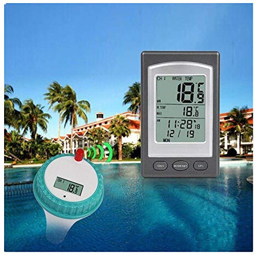 FORNORM Wireless Floating Thermometer with Outdoor Remote Thermometer Swimming Pool Waterproof Hot Tub Pond Spa (Blue)