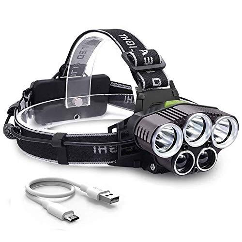 VNIUBI Linterna Frontal LED USB Recargable Alta Potencia 8000LM, Lámpara de Cabeza 5 LED 6 Modos IPX4 Impermeable para Camping, Pesca, Ciclismo, Carrera, Caza(Blaues+Weißes Licht)