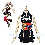 ATYMD Kaguya Luna Cosplay Costume Virtual Character Halloween Dress Women Black Sleeveless Dress with Red Socks Outfit,S