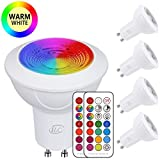 iLC Bombilla LED Foco GU10 Colores RGBW Bombillas spot Cambio de Color Regulable Blanco Cálido 2700k Casquillo - RGB 12 Colore - Control remoto Incluido - Equivalente de 40 Watt (Pack de 4)