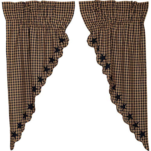 VHC Brands Navy Star Scalloped Prairie Short Panel Set of 2 63x36x18 Country Curtains, Navy and Tan
