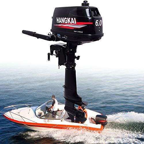 2 Tiempos Motor fueraborda Marino - Motor fueraborda de 6 HP,Motor de Barco de Pesca fueraborda del Sistema de enfriamiento por Agua con Motor de Gasolina