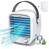 Portable Air Conditioner Fan Evaporative Cooling Fan/Humidifier – 3 in 1 Personal Air Cooler Fan,Build-in Ice Tray,Powered by USB - for Home Office Dorm,White
