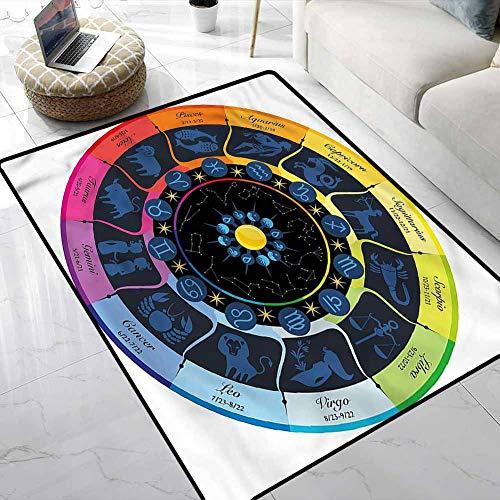Carpet Zodiac,Babylonian Astrology Theme Vintage Decor Area Rug Stain Resistant & Easy to Clean 5 x 8 Feet