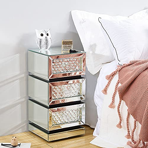 Panana - Mesita de noche con espejo de cristal, mueble de almacenamiento, 3 cajones para salón, dormitorio, oficina, 30 x 30 x 60 cm