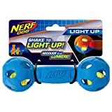 Nerf Dog Rubber Bash Barbell Dog Toy with Interactive LED, Lightweight, Durable and Water Resistant, 7 Inches, for Medium/Large Breeds, Single Unit, Blue, Medium (7) (2095)