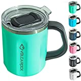 VOLCAROCK Stainless Steel Coffee Mug Cup with Handle, 16 oz Double Wall Vacuum Insulated Travel Mug Tumbler With Clear Slider Lid, Insulated Camping Tea Flask for Hot & Cold Drinks (Seaform Green)