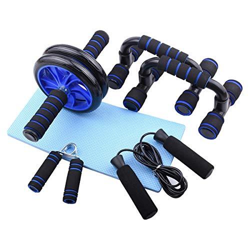WXSG AB Rueda Ajustado el Salto Kit de Fitness Fuerza de Agarre de la Rueda Abdominal Flexiones Soporte de Equipos de Fitness Ejercicios en casa,Black and Blue-OneSize