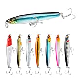 SundayPro Fishing Pencil Lure Topwater Popper Hard Bait Floating Pencil Popper Topwater Fishing Lure for Saltwater and Freshwater,8pcs