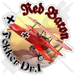 """FOKKER TRIPLANE Richthofen RED BARON WWI German 4,6"""" (117mm) Vinyl Sticker, Decal"""