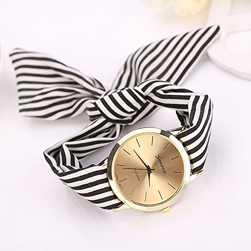 Tensay Uhren Damen Analog Quarz Sport Uhr Streifen Blumen Tuch Uhrenarmband Armband Armbanduhr Armreif Watch Classic Minimalistisches Design