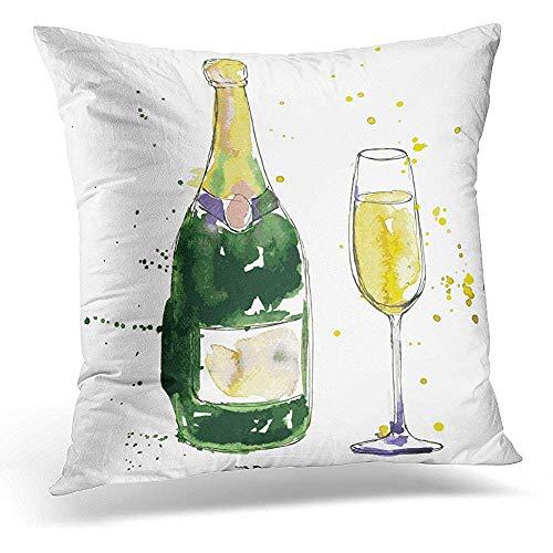 Niet geschikt hoofdkussensloop, kleurrijke schets, champagne, fles en glas, tekening van aquarel en inkt groen getekende modieuze kussenslopen voor trein, vliegtuig, slapen