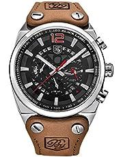 BENYAR オシャレ アナログ 腕時計 メンズ ステンレス カーキ レザー バンド 日付 ストップウォッチ ビジネス (シルバー オレンジ)