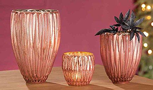 GILDE Glas Windlicht Rosy 2 Stück rosa H = 24 cm D = 16 cm