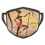 Cómoda máscara a prueba de viento, Savannah Lady Like Amazon Girl de pie para caza estilo safari, im...