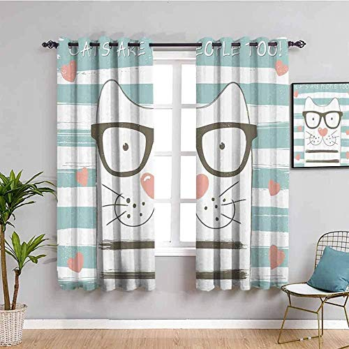 ZLYYH Pencil Pleat Curtains Cartoon animal glasses cat W52 xL72 Blackout Curtain, 2 Panels Room Darkening Blackout Window Curtain Light Block Thermal Insulated Liner Drape with Grommets for Kids Bedr