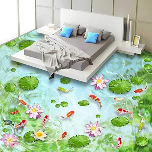 Papel tapiz mural personalizado 3D Lotus Pond Fish Floor Tiles Sticker Baño Sala de estar Pvc Impermeable Autoadhesivo-300 * 210Cm3D Floor Decals Vinyl Sticker Wallpaper Art Decor Peel & Sti