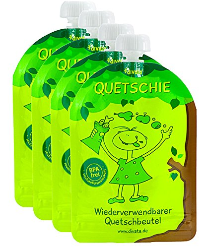 divata Quetschies, 170ml (4er Set) - wiederverwendbare Quetschbeutel zum selbst befüllen mit u.a. Babynahrung, Yoghurt, Smoothies, Obstmus