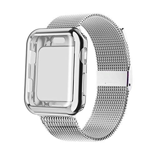 YC YANCH Compatible with Apple Watch Band 38mm 40mm 42mm 44mm with Case, Stainless Steel Mesh Loop Band with Apple Watch Screen Protector Compatible with iWatch Series 1/2/3/4/5 (Silver, 38mm)