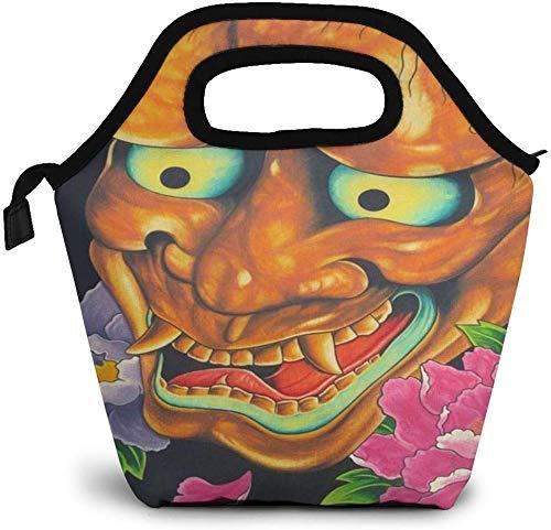 Máscara japonesa Arte del tatuaje Arte Flor de peonía Bolsa de almuerzo con aislamiento Caja Bento personalizada Enfriador de picnic Bolso portátil Bolsa de almuerzo para mujeres Chica Hombres Niño