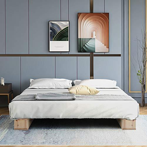 Merax - Letto a piattaforma in legno di alta qualità, con struttura in legno naturale, 120 x 200 cm