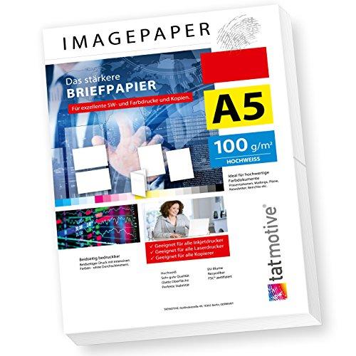 TATMOTIVE Imagepaper 100g/qm A5, das stärkere Briefpapier, brillante Drucke für alle Drucker, 500 Blatt - weiß Kopierpapier