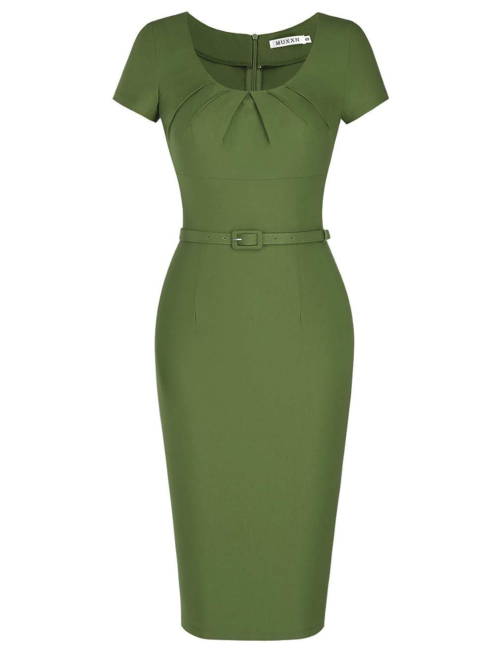 MUXXN Women's 1950s Vintage Short Sleeve Pleated Pencil Dress