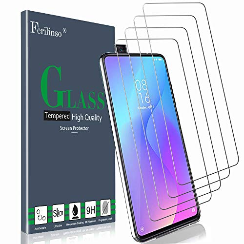 Ferilinso Tempered Glass for Xiaomi Mi 9T / Xiaomi Mi 9T PRO Tempered Glass, [4 Pack] Tempered Glass Protective Film with Lifetime Replacement Guarantee