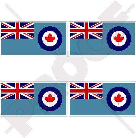Canada Canadien drapeau Azur RCAF 5,1 cm (50 mm) bumper-helmet en vinyle autocollants, Stickers x4