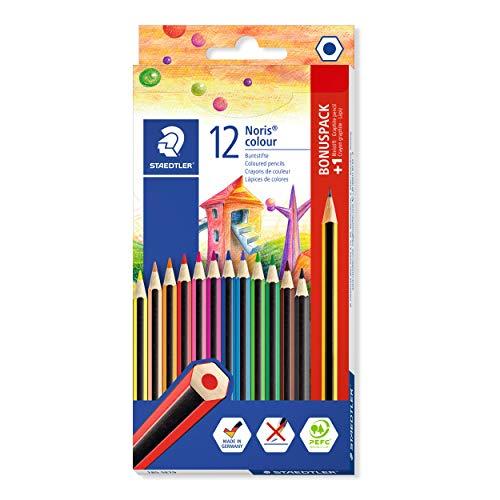 STAEDTLER Noris 185 SET9 - Estuche de cartón con 12 lápices de colores + GRATIS 1 lápiz de grafito Noris HB