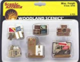 Woodland Scenics Scenic Accents Miscellaneous Packaged Freight (Boxes, Crates, Sacks Total 6 diff.) O