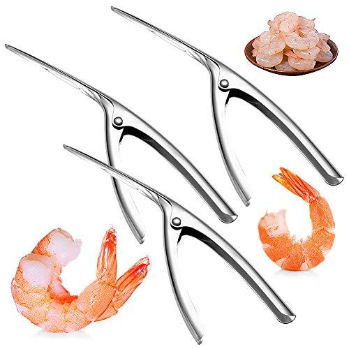 3 Piezas Pelador de Camarones de Acero Inoxidable,Acero Inoxidable Gambas Peeler Shrimp Peel Device Herramientas Creativas de la Cocina, Herramienta de Desarrollo de Camarones