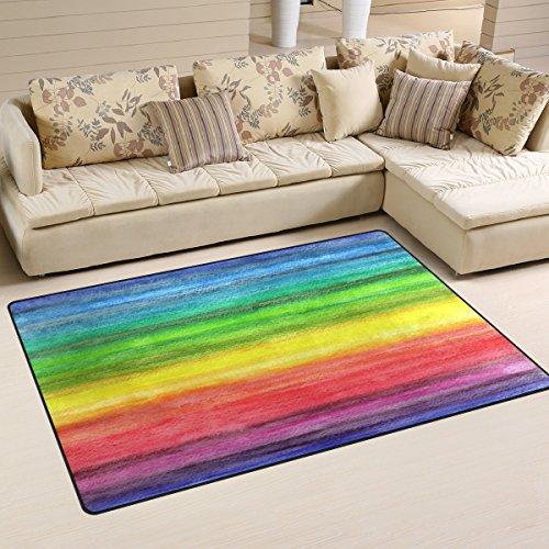 Use7 Alfombra Abstracta de Color arcoíris, Antideslizante, para decoración del hogar, Dormitorio, Sala de Estar, Tela, 50 x 80 cm(1.7' x 2.6' ft)