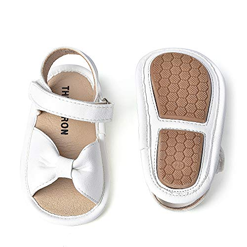THEE BRON Baby Toddler Boy and Girl Unisex Sandals (White-130-B, 12-18 Month, 13 cm/5.2 inch)