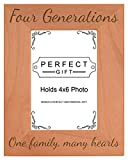 Gifts For All By Rachel Olevia Four Generations One Family Many Hearts Natural Wood Engraved 4x6 Portrait Picture Frame Wood
