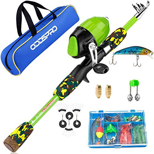 ODDSPRO Kids Fishing Pole, Portable Telescopic Fishing Rod and Reel Combo Kit - with Spincast Fishing Reel Tackle Box for Boys, Girls