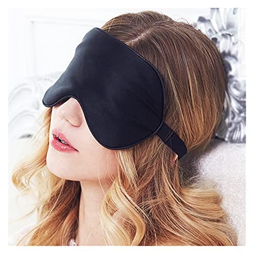 Antifaz para Dormir Máscara de sueño Negro para Dormir para Dormir Mascarilla de Ojos Sueño Vendedor de Ojos Seda de Seda de Seda Ojos Cubierta Vendaje Ayuda de Descanso Suave (Color : Black)