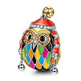 NinaQueen Skiing Owl 925 Sterling Silver Multicolor Enamel Happy Family Animal Charms Fit pandöra Charms for Bracelets Necklace Birthday Anniversary Christmas Gifts For Women Wife Her Teen Girls