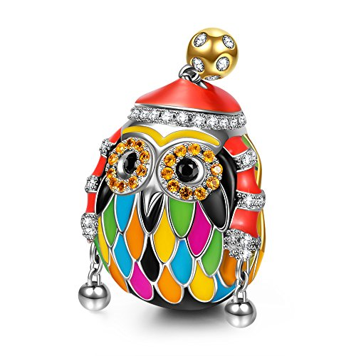 NINAQUEEN Skiing Owl Charms Fits Charms Bracelets Sterling Silver Bead Birthday Valentines Mothers Day Christmas Gifts for Her Wife Girlfriend Daughter Teen Girls Mom Graduation Animal