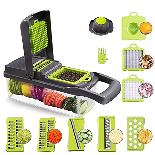 Food Chopper Vegetable-Fruit-Cheese-Onion Chopper Slicer Dicer Tomato Cutter Grater 12 in 1 Veggie Chopper Spiralizer Salad Potato Slicer with Container Multi-function Kitchen Aid Carrot Cutter (Gray)