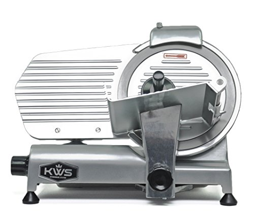 KWS MS-10NS Premium Commercial 320w Electric Meat Slicer 10-Inch Stainless Steel Blade, Deli Meat Frozen Meat Cheese Food Slicer Low Noise Commercial and Home Use [ ETL, NSF, FDA Certified ]