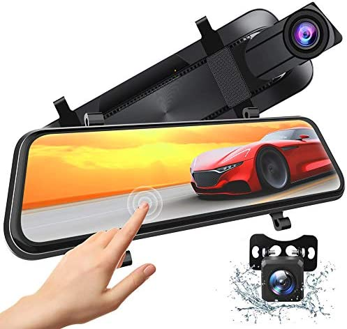Xeapoms 4K 10 Mirror Dash Cam Backup Camera for Cars Support GPS Front and Rear View Dual Lens product image