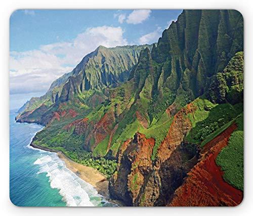 Ambesonne Hawaiian Mouse Pad, Na Pali Coast Kauai Hawaii Seashore Greenery Adventurous Journey Landscape, Rectangle Non-Slip Rubber Mousepad, Standard Size, Redwood Green
