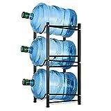 Water Cooler Jug Rack 5 Gallon Water Bottle Holder Storage Shelf 3 Tier Heavy Duty Stackable Water Cabinet Dispenser Organizer for Home Office, Black