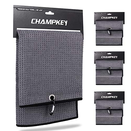 Champkey 16' x 21' Premium Tri-Fold Waffle Golf Towels 3 Pack | Superior Water Absorption and Quick Dry Golf Cleaning Towel (Grey)
